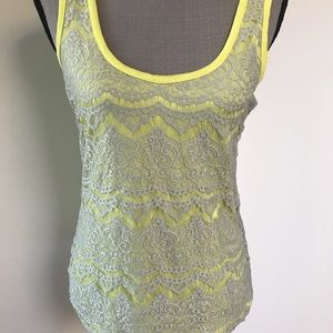 Lace Overlay Tank Top size M
